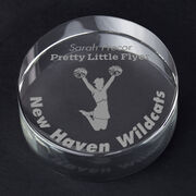 Cheerleading Personalized Engraved Crystal Gift - Cheerleader Silhouette with Custom Text (Jump)