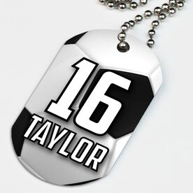 Soccer Printed Dog Tag Necklace Personalized Big Number with Soccer Ball