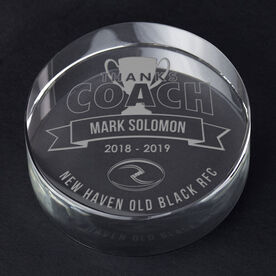 Rugby Personalized Engraved Crystal Gift - Thanks Coach Banner