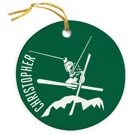 Skiing Porcelain Ornament Airborne Skiing
