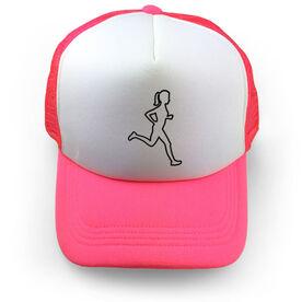 Running Trucker Hat - Female Runner Outline