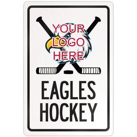 "Hockey Aluminum Room Sign Custom Hockey Logo with Team Name (18"" X 12"")"