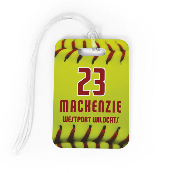 Softball Bag/Luggage Tag - Personalized Big Number with Softball Stitches