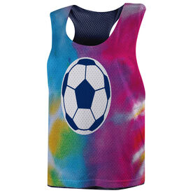 Soccer Racerback Pinnie - Tie Dye Pattern with Soccer Ball