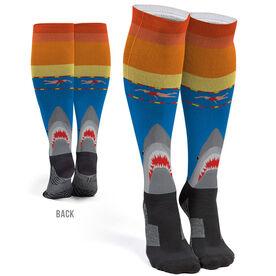 Swimming Printed Knee-High Socks - Shark Attack (Girl Swimmer)