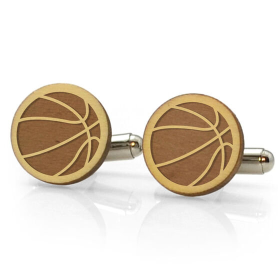 Basketball Engraved Wood Cufflinks
