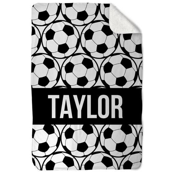 Soccer Sherpa Fleece Blanket - Personalized Side By Side Ball Pattern