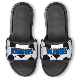 Soccer Repwell™ Slide Sandals - Soccer Ball Texture With Text