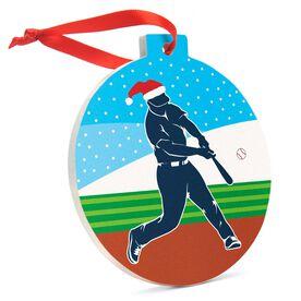 Baseball Round Ceramic Ornament -Silhouette with Santa Hat