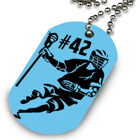 Guys Lacrosse Printed Dog Tag Necklace Personalized Player Dodging