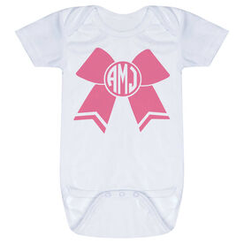 Cheerleading Baby One-Piece - Monogrammed Cheer Bow