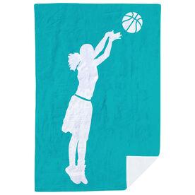 Basketball Premium Blanket - Girl Silhouette