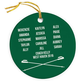 Skiing Porcelain Ornament Personalized Team Roster