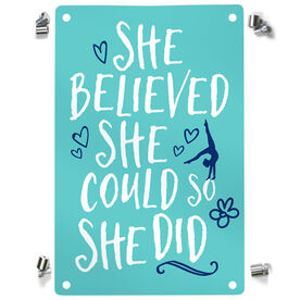 Gymnastics Metal Wall Art Panel - She Believed She Could So She Did