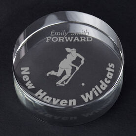 Field Hockey Personalized Engraved Crystal Gift - Player Silhouette with Custom Text (Player)