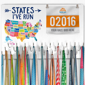 Running Large Hooked on Medals and Bib Hanger - States I've Run Colorful