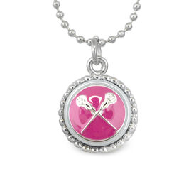 Lacrosse Crossed Sticks Enamel Pink SportSNAPS Necklace