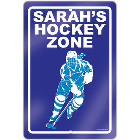 "Hockey Aluminum Room Sign Personalized Hockey Zone Girl (18"" X 12"")"