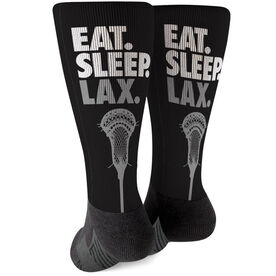 Guys Lacrosse Printed Mid-Calf Socks - Eat Sleep Lax (Stick)