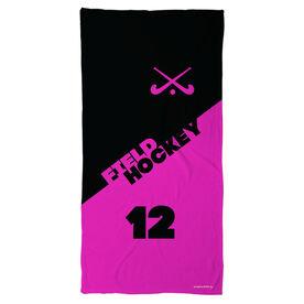 Field Hockey Beach Towel Personalized Crossed Sticks Color Block
