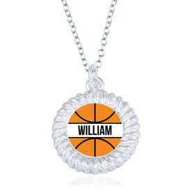 Basketball Braided Circle Necklace - Ball With Name