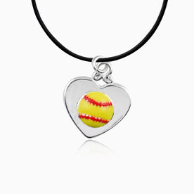 Yellow Softball In Silver Heart Necklace