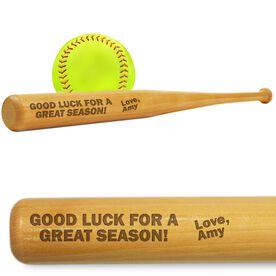 Softball Mini Engraved Bat Good Luck