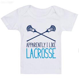 Guys Lacrosse Baby T-Shirt - I'm Told I Like Lacrosse