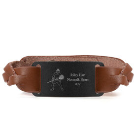 Lacrosse Leather Bracelet with Engraved Plate - Personalized Goalie