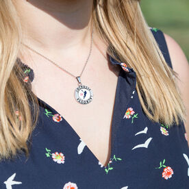 Girls Lacrosse Circle Necklace - Player Silhouette With Number