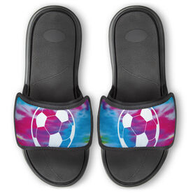 Soccer Repwell™ Slide Sandals - Tie Dye Pattern With Soccer Ball