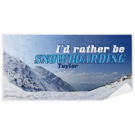 Snowboarding Premium Beach Towel - I'd Rather Be Snowboarding