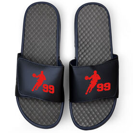 Basketball Navy Slide Sandals - Guy Player with Number