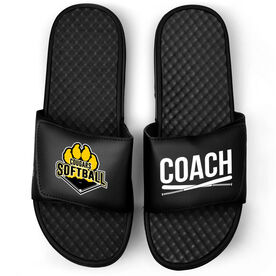 Softball Black Slide Sandals - Logo and Coach