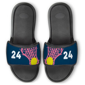 Girls Lacrosse Repwell® Slide Sandals - Stick and Number Reflected