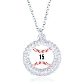 Baseball Braided Circle Necklace - Ball With Number