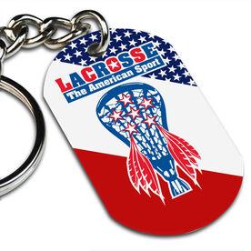 Lacrosse Printed Dog Tag Keychain American Sport