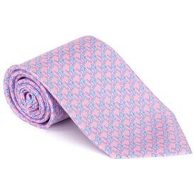 Laxer Players Pattern Pink Lacrosse Silk Tie