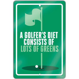 "Golf Aluminum Room Sign (18""x12"") A Golfer's Diet"