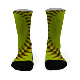 Softball Printed Mid Calf Socks Photo Stitches