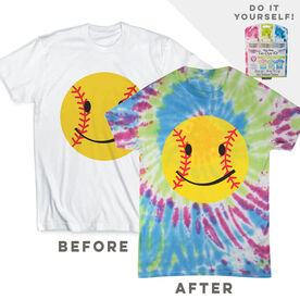 DIY Softball Smiley - White Tee Ready for Tie-Dye