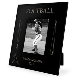 Softball Engraved Picture Frame - Softball Bats