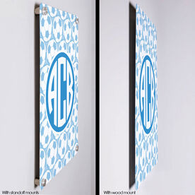 "Soccer 18"" X 12"" Aluminum Room Sign Monogram with Soccer Ball Pattern"