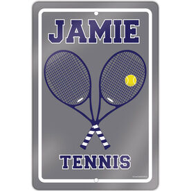 """Tennis Aluminum Room Sign Personalized Tennis Rackets (18"""" X 12"""")"""