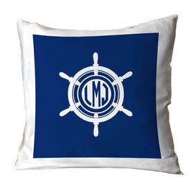 Personalized Throw Pillow - Monogrammed ship Wheel