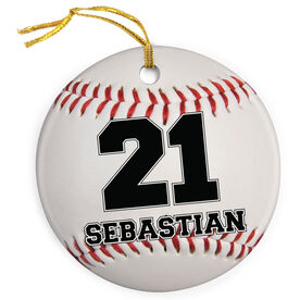Baseball Porcelain Ornament Personalized Ball with Name and Number
