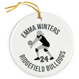 Volleyball Porcelain Ornament Personalized Volleyball Team With Silhouette
