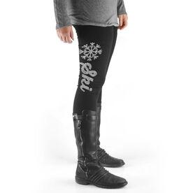 Skiing High Print Leggings Ski Script with Snowflake