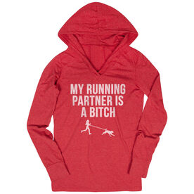 Women's Running Lightweight Performance Hoodie - My Running Partner Is A Bitch (Bold)
