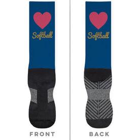Softball Printed Mid-Calf Socks - Heart With Glitter
